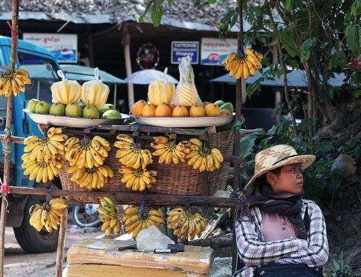 Woman selling bananas at the temples, Siem Reap