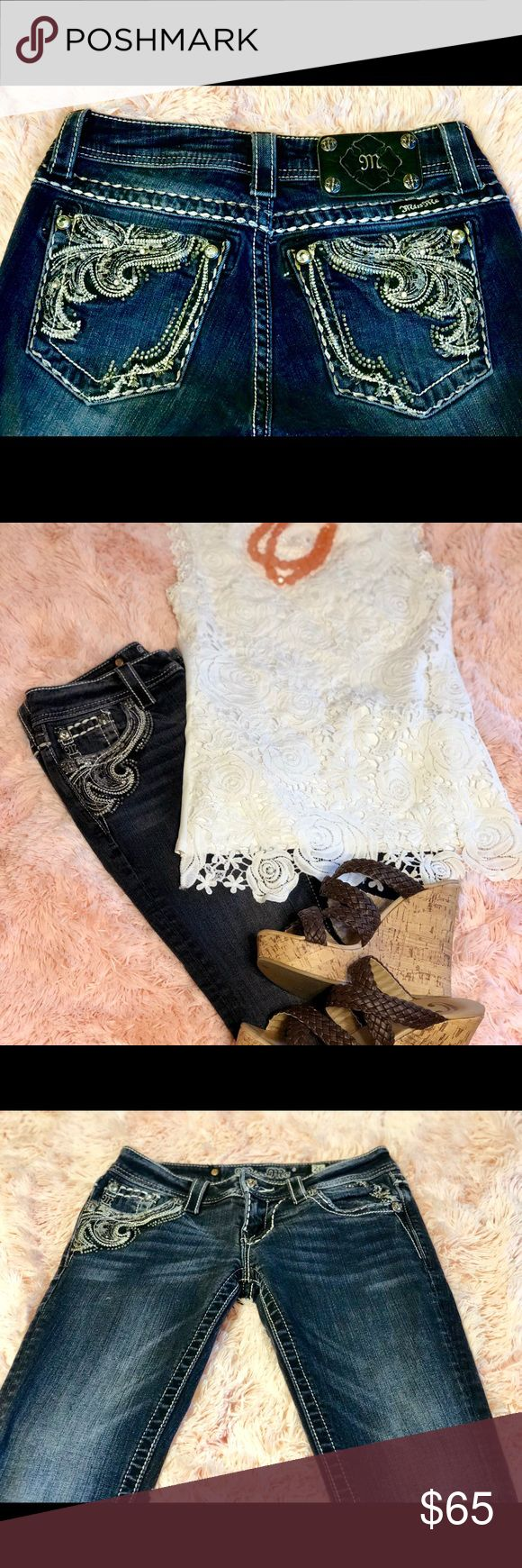 Miss Me Brand Skinny Jeans sz. 26 Excellent condition Miss Me brand skinny jeans in size 26. Embellishments and some mild distressing without being over the top. They have some stretch to them but definitely not yoga pants, they are true to size. Miss Me Jeans Skinny