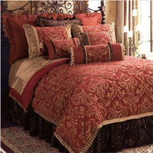Image Detail For Bacara Oversize Queen Comforter Set Red And Gold Bedroom Decorating