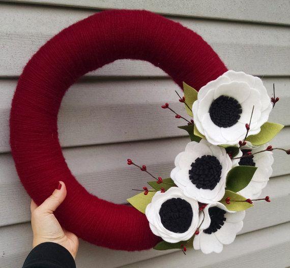 Christmas yarn wreath, Christmas wreath, holiday wreath, wildflower wreath, year round wreath, wool felt flower wreath, winter wreath