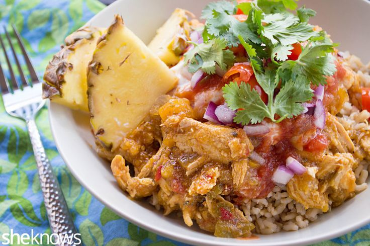 Tropical slow cooker chicken burrito bowls are a healthier take on Mexican food