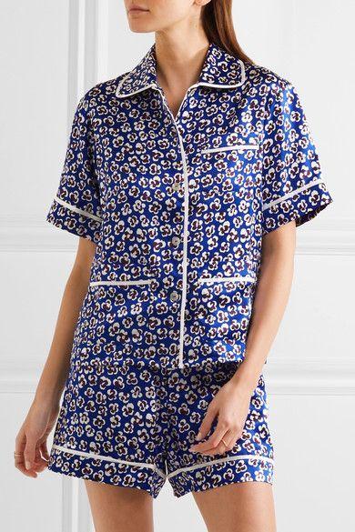 Olivia von Halle | Millicent printed silk-satin pajama set | NET-A-PORTER.COM