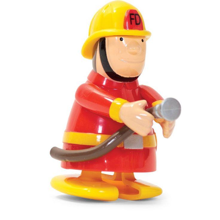 Running clockwork firefighter toy