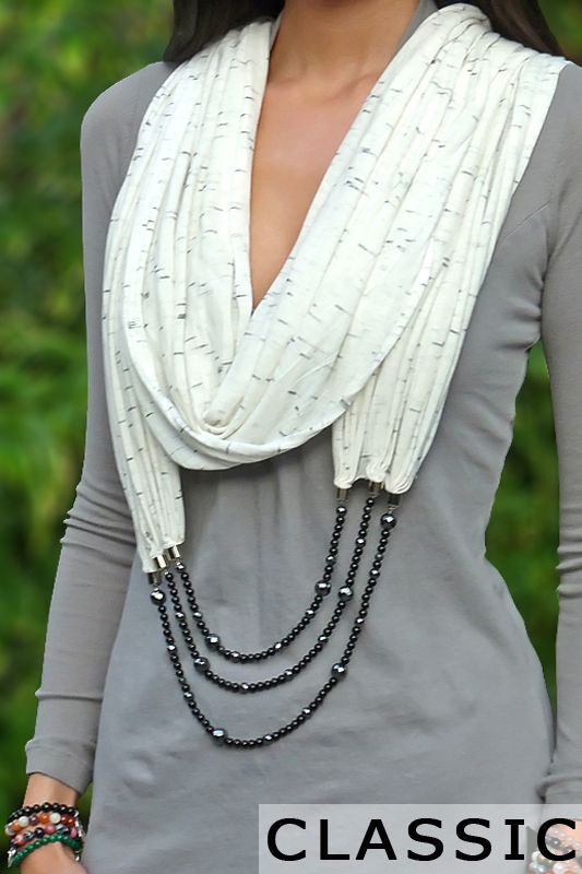 Scarf Necklace - This is a retail website and shows all the different ways you can wear this, pretty cool * I will DEFINITELY be DIYing at least one of these for my closet!
