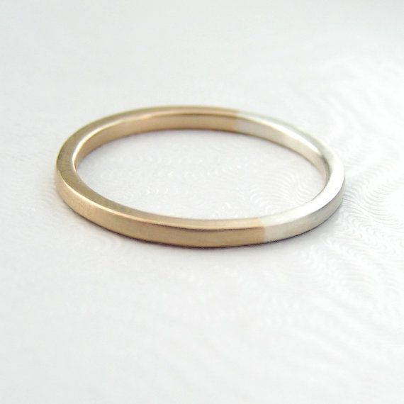 Golden Ratio Ring - Gift or Thin Wedding Band for Math Lovers, Geeks or Artists, 9kt Gold and Sterling Silver