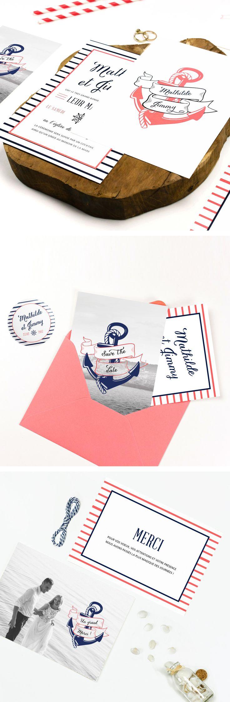 """Collection de papeterie de mariage """"Marin"""", composée de save the date, faire-part, carton réponse, menu, magnet, badges, remerciements,... entièrement personnalisable. Idéal pour un mariage nautique, rétro ou sur le thème du voyage ou de la mer!  www.paperandlove.be #fairepartmariage #marin #nautique #mer #voyage #ancre / """"Nautical"""" Wedding stationery, composed of save the date, invitation, rsvp, menu, magnet, thank you card,... fully customizable. #weddinginvitation #nautical #anchor…"""