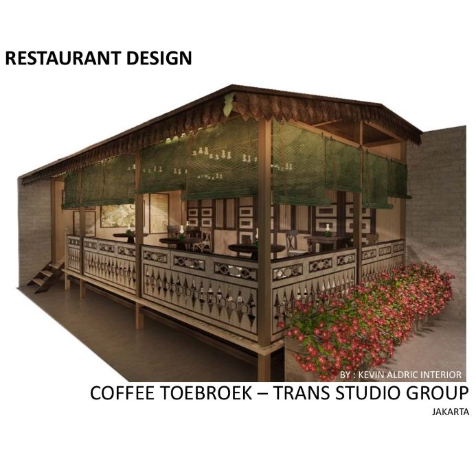 """Restaurant design """"Coffee Toebroek"""" designed by Kevin Aldric Interior. Client : trans studio group. Inspired by indonesian traditional restaurant but it is interpreted in the modern way."""