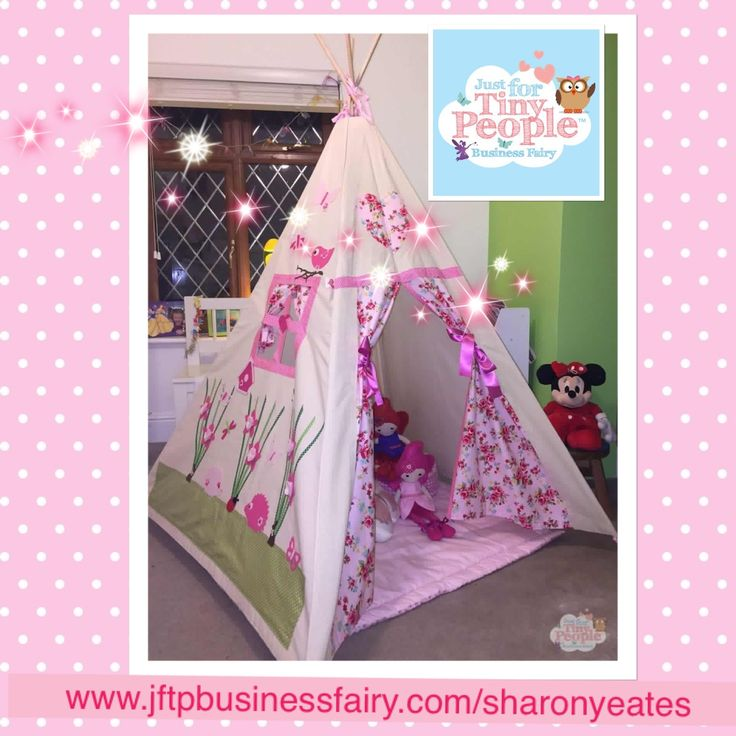 Girly, floral and oh so cute, this teepee is perfect for tiny people who love to explore, play and use their imaginations. The curtains feature a kitsch, floral pattern and embroidery on the outside walls, with ribbons and patchwork additions.   The soft cotton material is hand-sewn by the Just For Tiny People fairies. Big people can machine wash the fabric easily and assembly takes a couple of seconds!