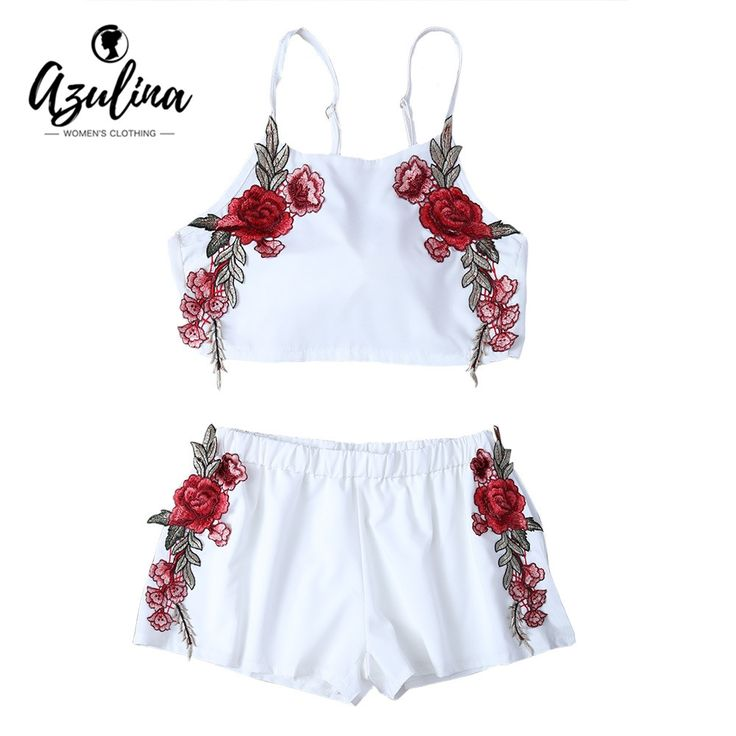 AZULINA Summer Casual Two piece Floral Embroidery White Twinset Crop Top Bowknot Hot Pants Shorts Women Set tank top 2017 Beach