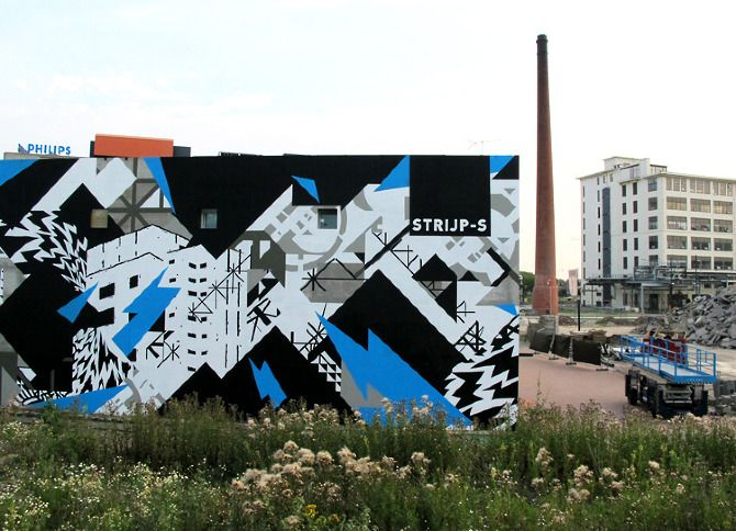 ElectriCity wallpainting by SPIELEREI, Erosie and Graphic Surgery for Strijp-S