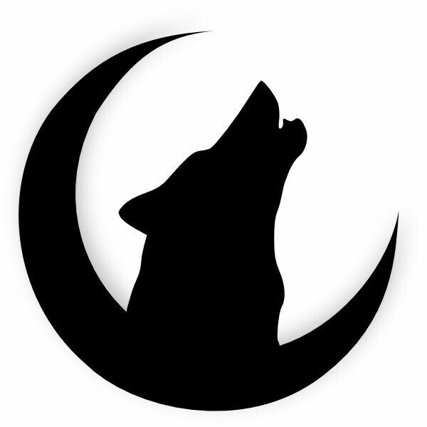 Silhouette Moon and Wolf