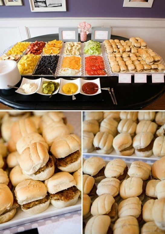 couples BBQ baby shower - love the idea of having sliders and hot dogs with a bar of fixin's