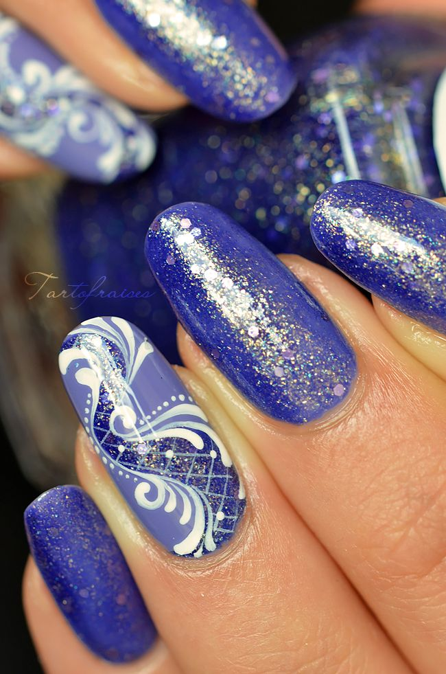 nail art baroque paillette