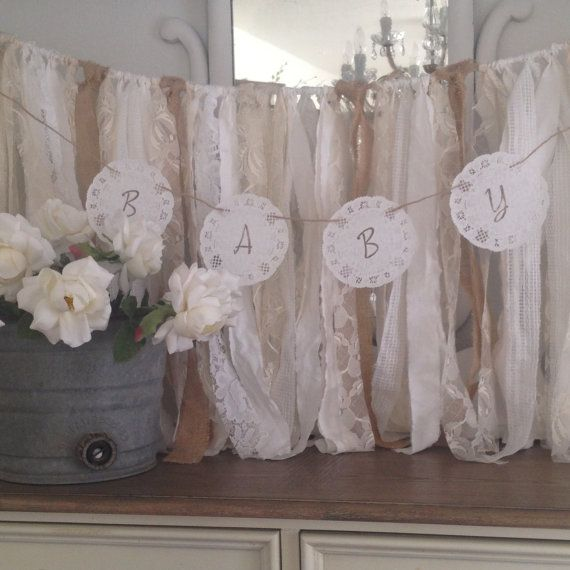 DIY Baby Shower Doily Banner Kit, Baby Shower Banner Ideas, Lace Paper  Doily Garland, Shabby Chic Baby Shower Decor, Dena Danielle Designs