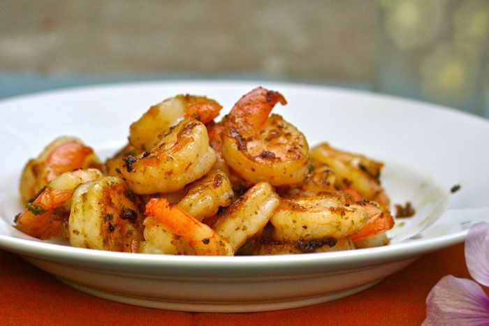 ... sweet and spicy almond glazed shrimp over cilantro basmati rice