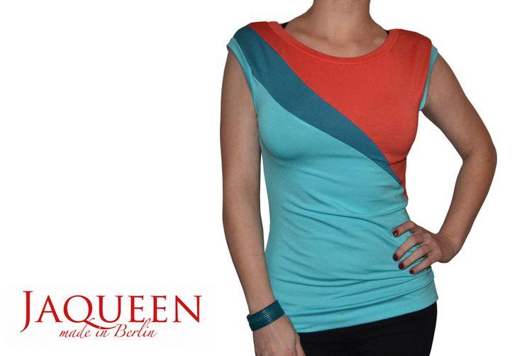 Tops - Shirt Jaqueen türkis rot dunkeltürkis - ein Designerstück von JAQUEEN-handmade-streetwear-berlin bei DaWanda