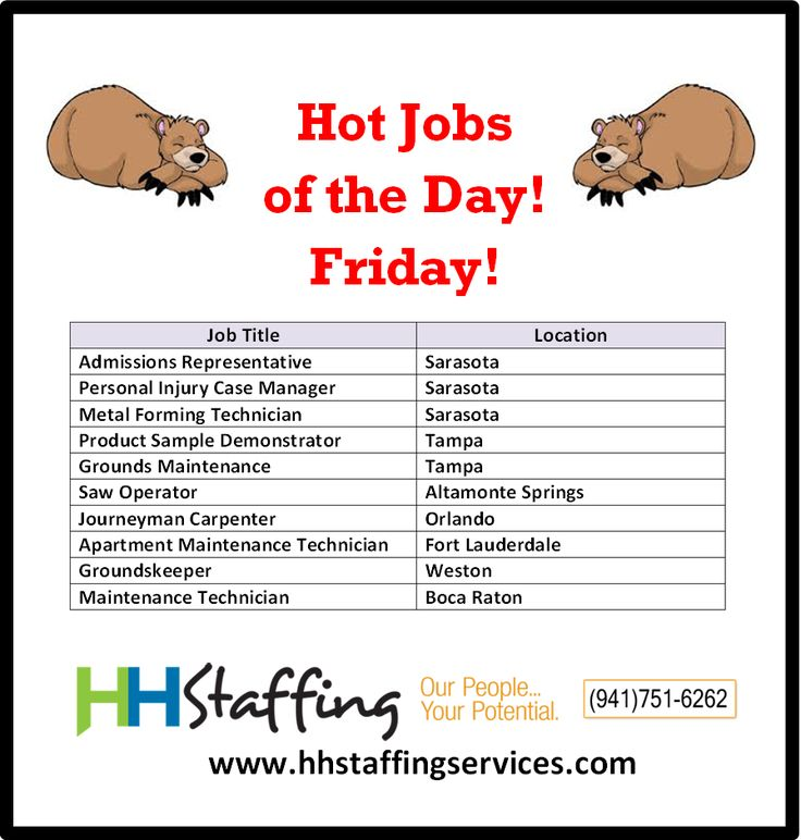 Hello there, #jobseekers! How are you today? We know the #jobsearch process can be a real bear. ;) Come out of hibernation and find a new position with the expert #recruiters at HH Staffing. Check out our hot #jobs of the day and see if one might be a good fit for you. If so, please send your resume to customerservices@hhstaffingservices.com. Questions? Just give us a call at (941)751-6262. P.S. There is NO FEE to you as the #jobseeker!