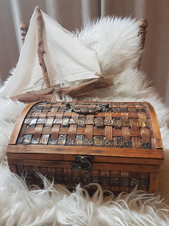Gorgeous vintage handmade wood chest wooden jewelry box wood