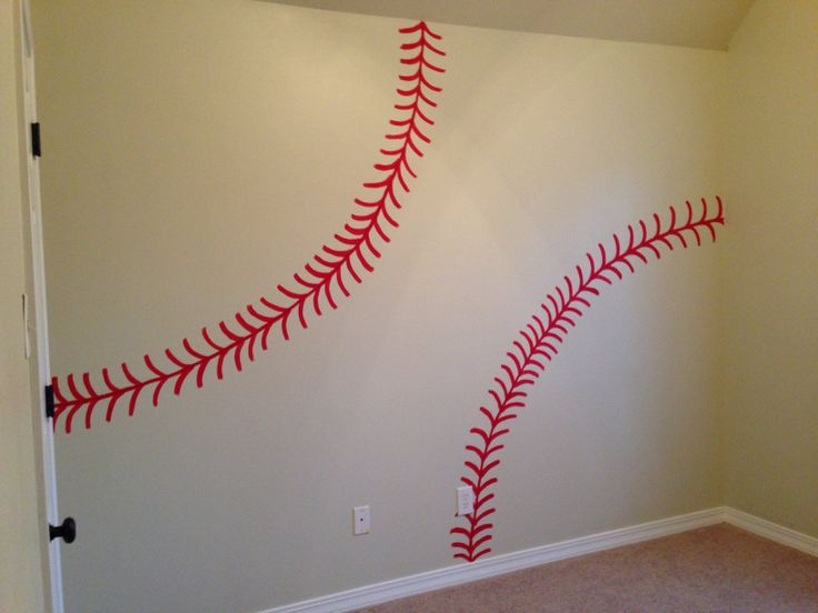 Baseball Painted Wall For Our Little Boys Room