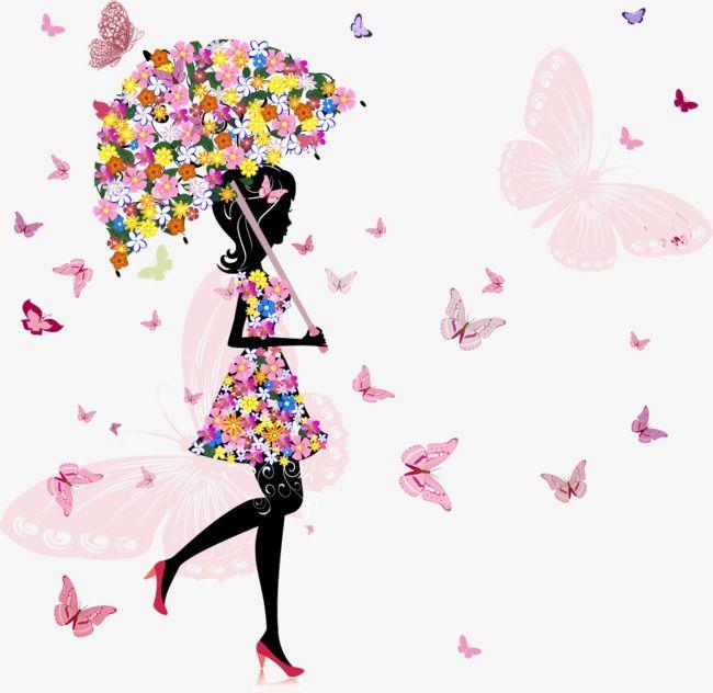 Menina Com Flores Guarda Chuva De Flores As Meninas A Borboleta