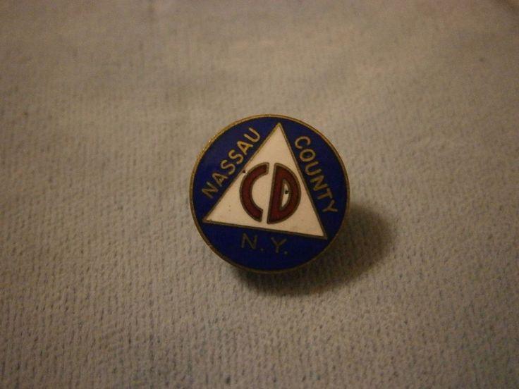 Vintage Nassau County NY Civil Defense CD screw back lapel / collar Pin