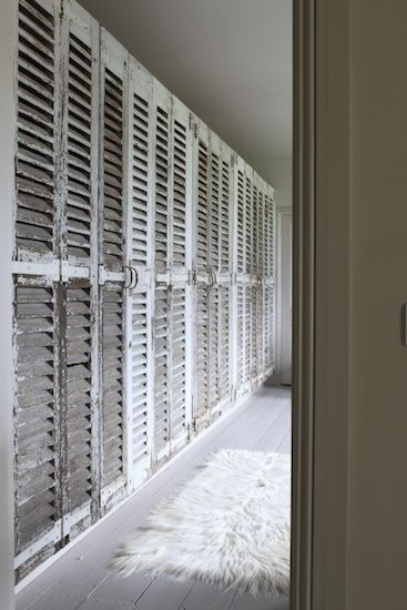 Reclaimed shutters would make great light weight doors for a shoe wardrobe. Retrouvius Reclamation and Design