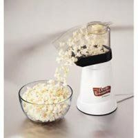 How to get seasoning to stick to hot air popped corn: 1) Lime juice with salt and chili powder 2) Spray Bragg's Aminos before adding garlic powder or nutritional yeast 3) Put vinegar in a spray bottle and mist the popcorn- then sprinkle salt. Voila- salt and vinegar popcorn.
