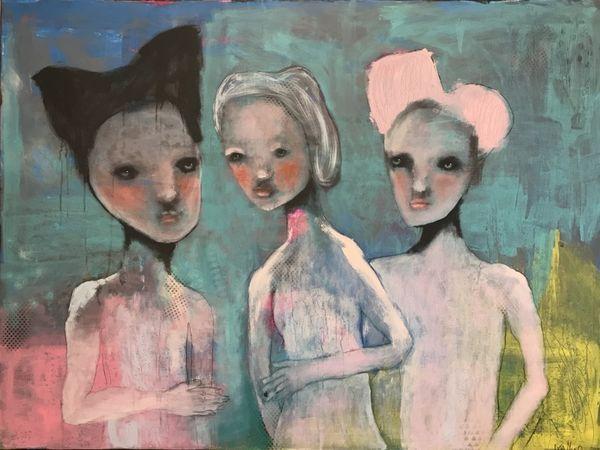 """Painting by Norwegian artist Kari Anne Marstein. See it at Purenkel art gallery in Oslo (Grunerløkka)   Title: """"Et møte"""", 160x120 maleri"""