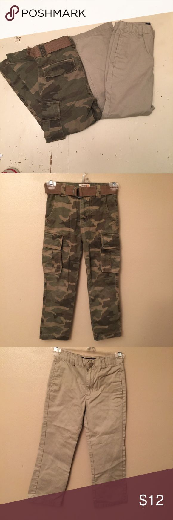 Boys size 7 2 pair bundle! 2 pairs of boys pants size 7.  Classic camouflage printed pants with adjustable waist and belt included! Tiny hole on booty, small mark on front see pic 4.  Khaki jeans from Cherokee. Adjustable waist! Small mark on front from storage. Could wash off!  Very good preloved condition! Check out my closet to bundle and save even more! Cherokee Bottoms Jeans