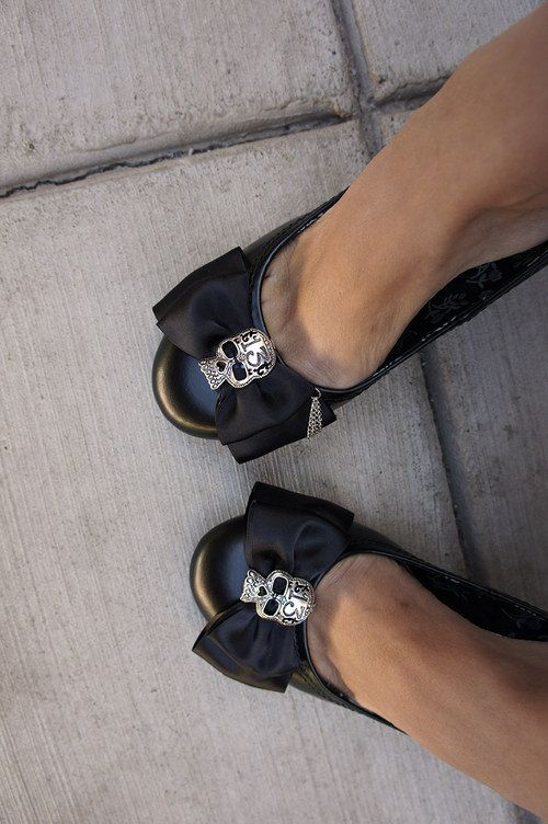 Olivia Paige - Black satin Bow Sugar skull shoe Clips. $12.00, via Etsy. <-- WANT!!