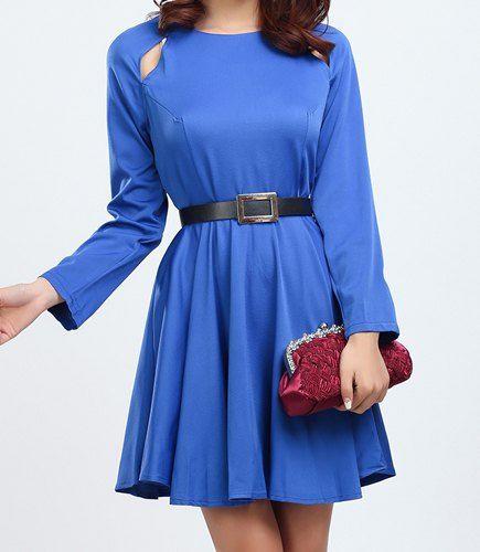 Estilo Casual cuello de la joya de color sólido a cielo abierto del vestido de la correa de manga larga para las mujeres - Azul S