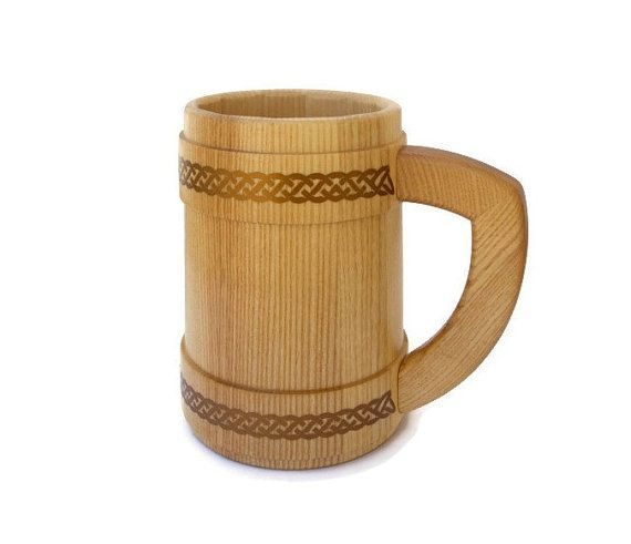 Handmade wooden mug for beer and other beverages with от LekaArt, $39.00