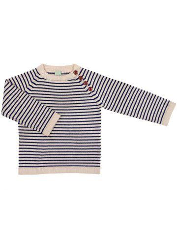 FUB - Knitted Sweater Ecru/Navy  100% merino wool