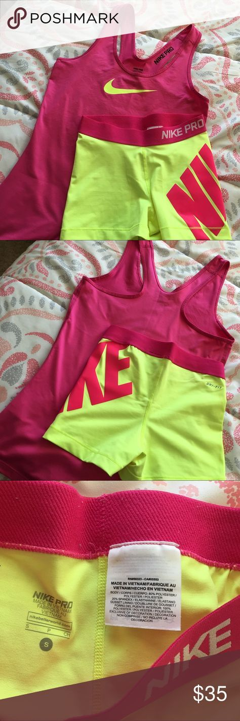Yellow Nike Pro Shorts w/ Matching Pink Top Only worn once, like new condition. Comes as a set or individually for $15 each. Nike Shorts