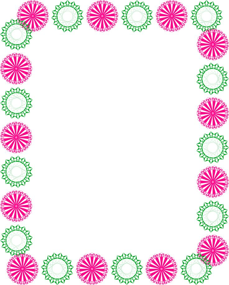 Green and pink clipart circle border design 2016 for Free garden border designs