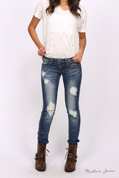 Machine Distressed Skinny Jeans Distressed Skinny Jeans Cute Jeans Forever Fab Boutique Fashion Women's Clothing #shop #fashion
