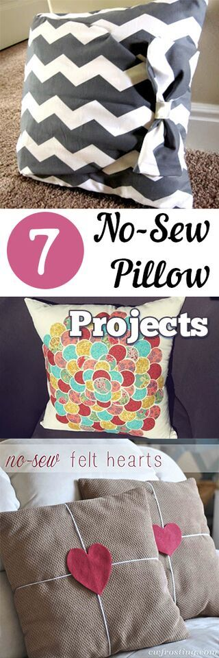 7 No Sew Pilllow  Projects. DIY, DIY clothing, sewing patterns, quick crafting, tutorials, DIY tutorials.