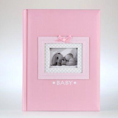 """Różowy album na zdjęcia z napisem """"baby"""""""