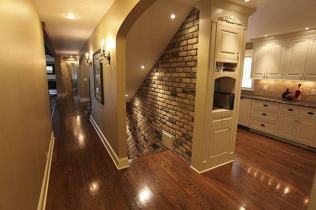 Basement Stairwell Lighting: Hall + Open Stairwell To Basement + Brick Wall = LIKE