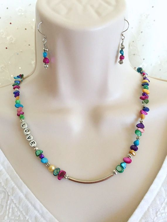 Love necklace, Shell necklace set, Multi Color necklace, Mother of Pearl necklace,