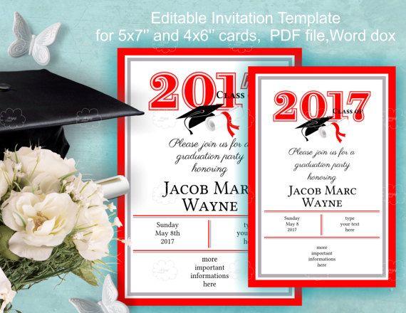 Graduation Invitation Template Download  edit yourself