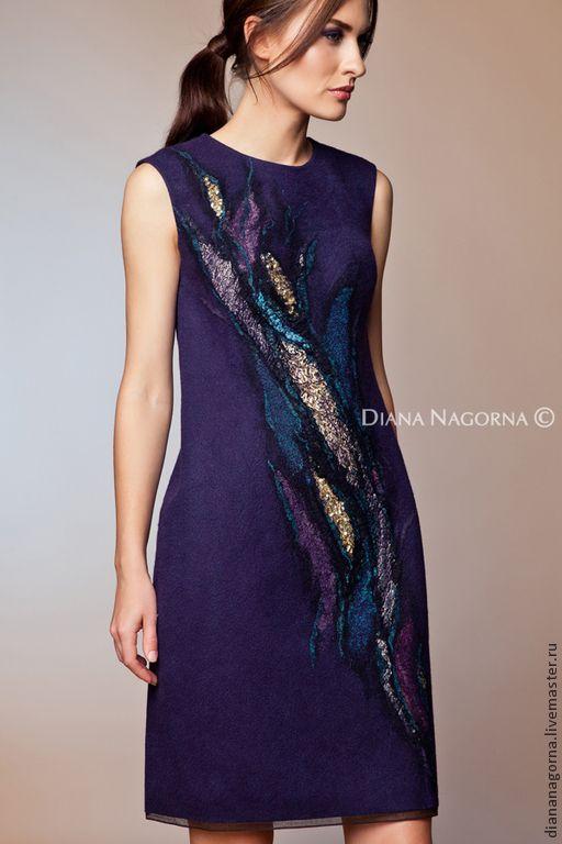 """Авторское платье из мериносовой шерсти и шелка""""Тысяча и одна ночь"""" - тёмно-синий"""