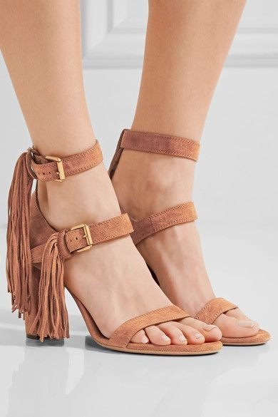 Heel measures approximately 90mm/ 3.5 inches Tan suede Buckle-fastening ankle strap Designer color: Auburn Red  Made in Italy