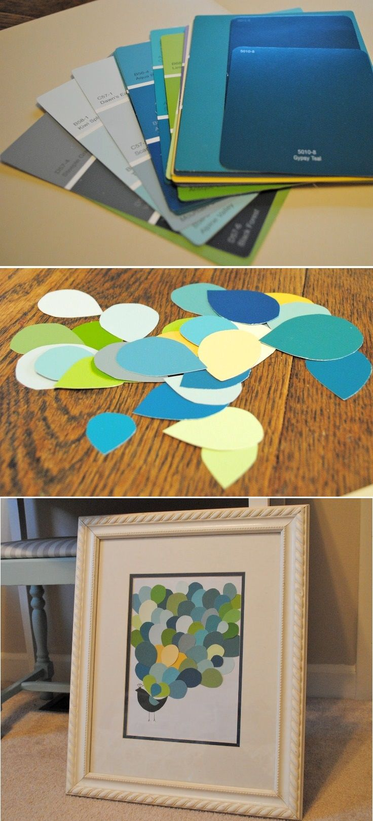"""Top 10 Amazing DIY Paintings--especially love the paint chip """"peacock"""""""