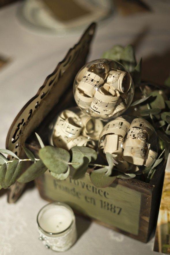 Sheet Music as Wedding Decoration