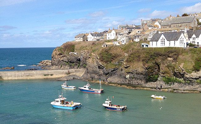The Slipway in Port Isaac is host to terraced Cafe and Bed & Breakfast. | Port Isaac is also known as Port Wen, home of Doc Martin.