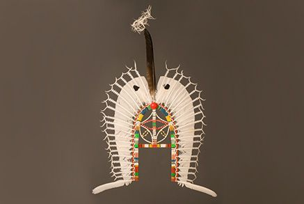Feathered headdress made of cane and feathers. Made by Wawee Tapau in 1988. Collected by Lindsay Wilson, from Townsville Meriam Community, 1990. #torresstrait #culturalhistory #exhibitions #museum #collection