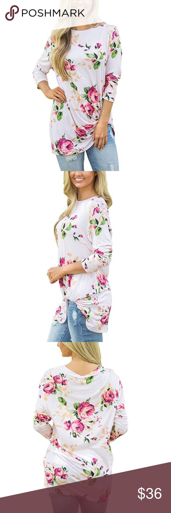 Pink and White Floral Cotton Long Sleeve T Shirt This airy, feminine top has a romantic feel and looks great no matter what you pair it with.  Terrific on its own or as a layering piece for fall and winter.  Range of sizes available! Lalea Tops Tees - Long Sleeve