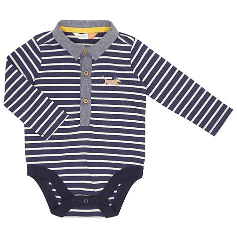 John Lewis Baby Striped Dog And Collar Bodysuit, Navy/White £6