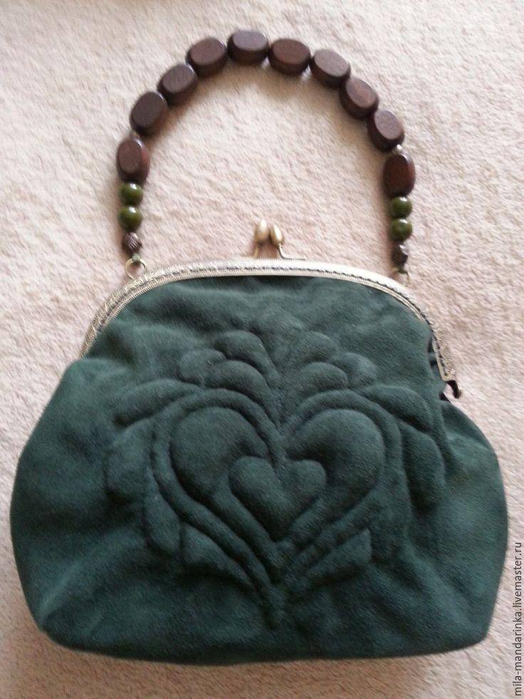 """Купить Женская замшевая сумочка с итальянской вышивкой """"Трапунто"""" - тёмно-зелёный, кожа натуральная"""
